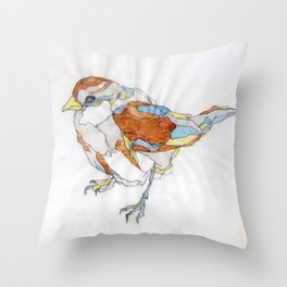 Sparrow | Watercolor Drawing Throw Pillow