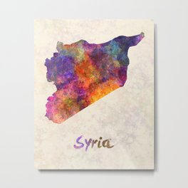 Syria in watercolor Metal Print