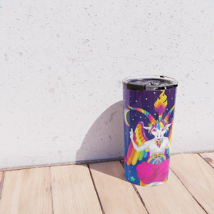 1997 Neon Rainbow Baphomet Travel Mug