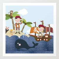 pirates Art Prints featuring pirates by elisapesteguia