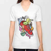 shoe V-neck T-shirts featuring shoe pirates by ybalasiano