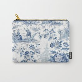 Powder Blue Chinoiserie Toile Carry-All Pouch