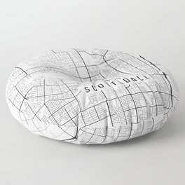Scottsdale Map, Arizona USA - Black & White Portrait Floor Pillow
