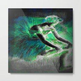 Degas The Dancer Bright Green Teal Metal Print