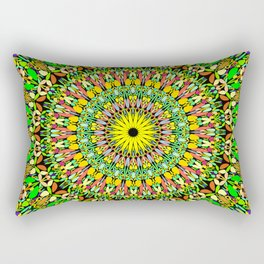 Floral Sun Garden Mandala Rectangular Pillow