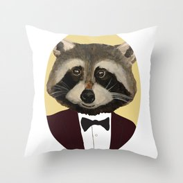 Sophisticated Raccoon Throw Pillow