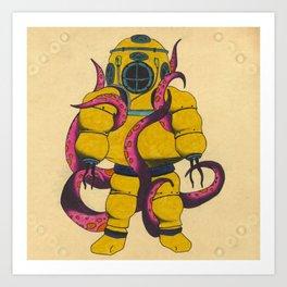 Yellow Scuba Diver Art Print