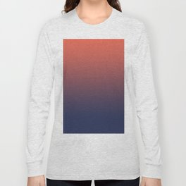 Pantone Living Coral & Blue Depth Gradient Ombre Blend, Soft Horizontal Line Long Sleeve T-shirt