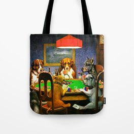 Dogs Playing Poker, by Cassius Marcellus Coolidge - Vintage Painting Tote Bag