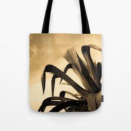 Giant Sepia Aloe Cactus Plant Photograph Art Print Tote Bag