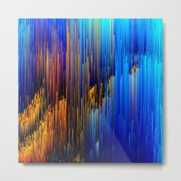 Rise Up - Abstract Pixel Glitch Art Metal Print