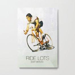 Eddy Merckx watercolor and quote Metal Print