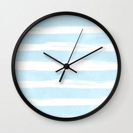 Pastel Blue Stripes Wall Clock