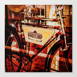 Barber shop vintage photograph of an antique bicycle Canvas Print
