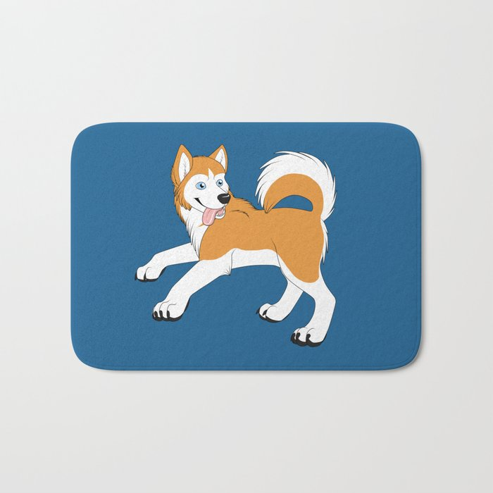 Husky (Red and White) Bath Mat