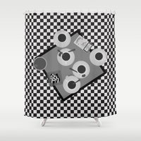cigarettes Shower Curtains featuring coffee and cigarettes by Live It Up
