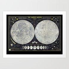 The Earth's Moon Map Art Print
