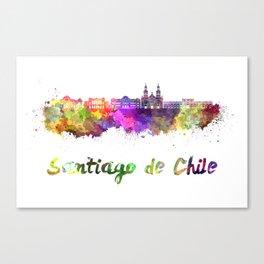 Santiago de Chile V2 skyline in watercolor  Canvas Print