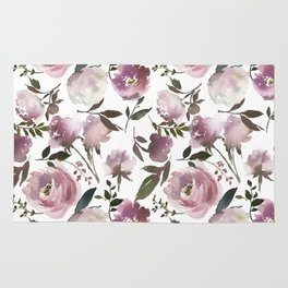 Modern hand painted ivory purple pink watercolor roses Rug