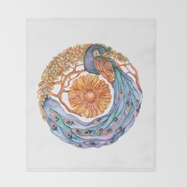 peacock at peace mandala Throw Blanket