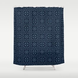 Japanese Lace Indigo Pattern Quilt Grid Ornament Shower Curtain