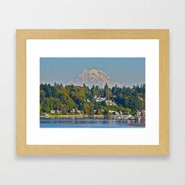 Mount Rainier from Olympia Framed Art Print