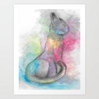 Watercolour Cat #4 Art Print