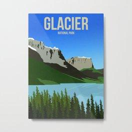 Glacier National Park - Travel Poster -  Minimalist Art Print Metal Print
