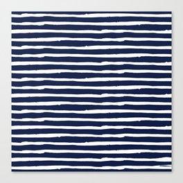 Navy Blue Stripes on White II Canvas Print