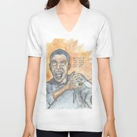 oitnb V-neck T-shirts featuring Poussey OITNB by Ashley Rowe