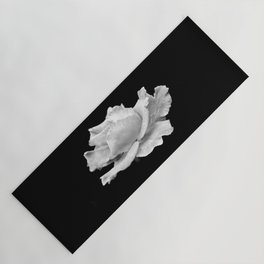 White Rose On Black Yoga Mat