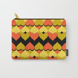 Multi Hearts Chartreuse Tangerine Black Carry-All Pouch