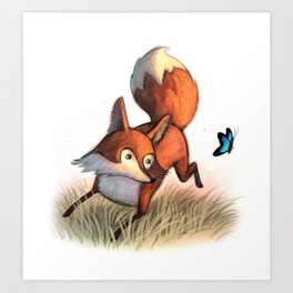Dancing Fox & Butterfly / illustration Art Print