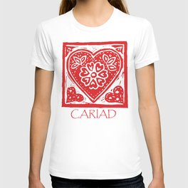 Cariad Darling sweetheart lino print red T-shirt