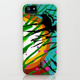 Birds Chatting: 2 birds on a branch chatting about the sun rise / sunset iPhone Case