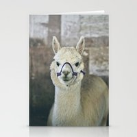 alpaca Stationery Cards featuring White Alpaca  by Laura Ruth