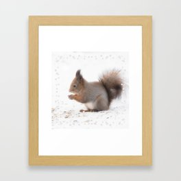 Squirrel And Lunch Pause Winter Scene #decor #society6 #buyart Framed Art Print