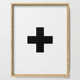 Swiss Cross white and black Swiss Design for minimalist home room wall art decor for apartment Serving Tray