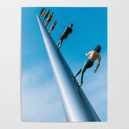 Walking To The Sky Blue Print Poster