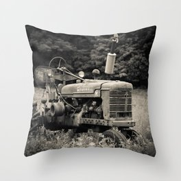Old Vintage Farm Tractor Throw Pillow