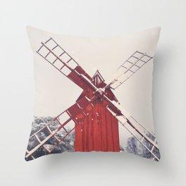 Snowy Windmill Throw Pillow