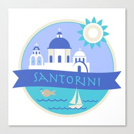 Santorini Greece Badge Canvas Print