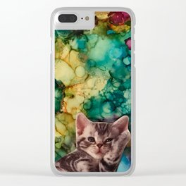 Relaxed Kitten Clear iPhone Case
