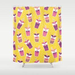 Bubble Tea Boba Pattern Shower Curtain
