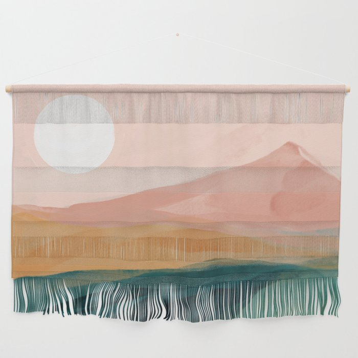 pink, green, gold moon watercolor mountains Wall Hanging