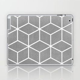 Light Grey and White - Geometric Textured Cube Design Laptop & iPad Skin