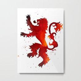 stark lion hear me roar thrones game of watercolor Metal Print