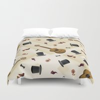 hats Duvet Covers featuring Guitar & Hats by hesor