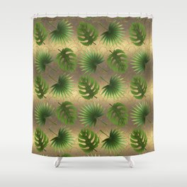Tropical Leaves Gold Great Gatsby Shower Curtain