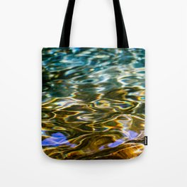 Prismatic Waves in Blue Green Copper and Gold Tote Bag